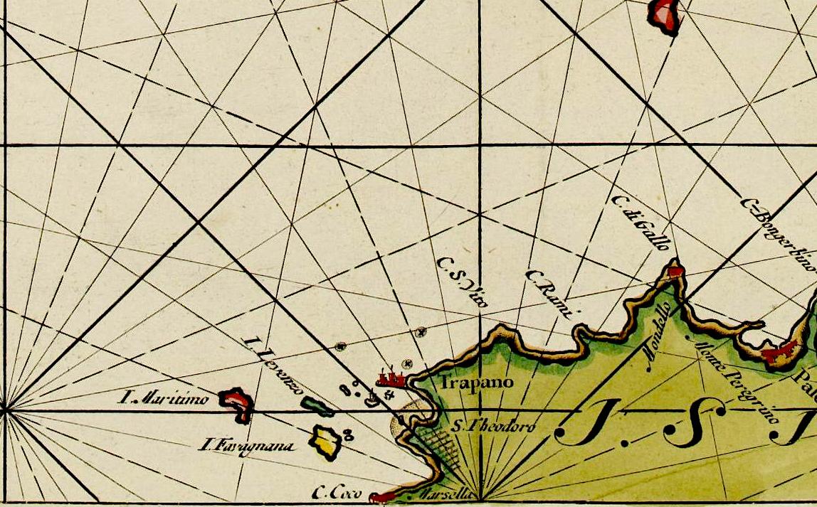 foto Paskaart der Zeekusten van Italien Tusschen Piombino en C. dell Arme Met de Noord-kust van 't Eylandt Sicilia..