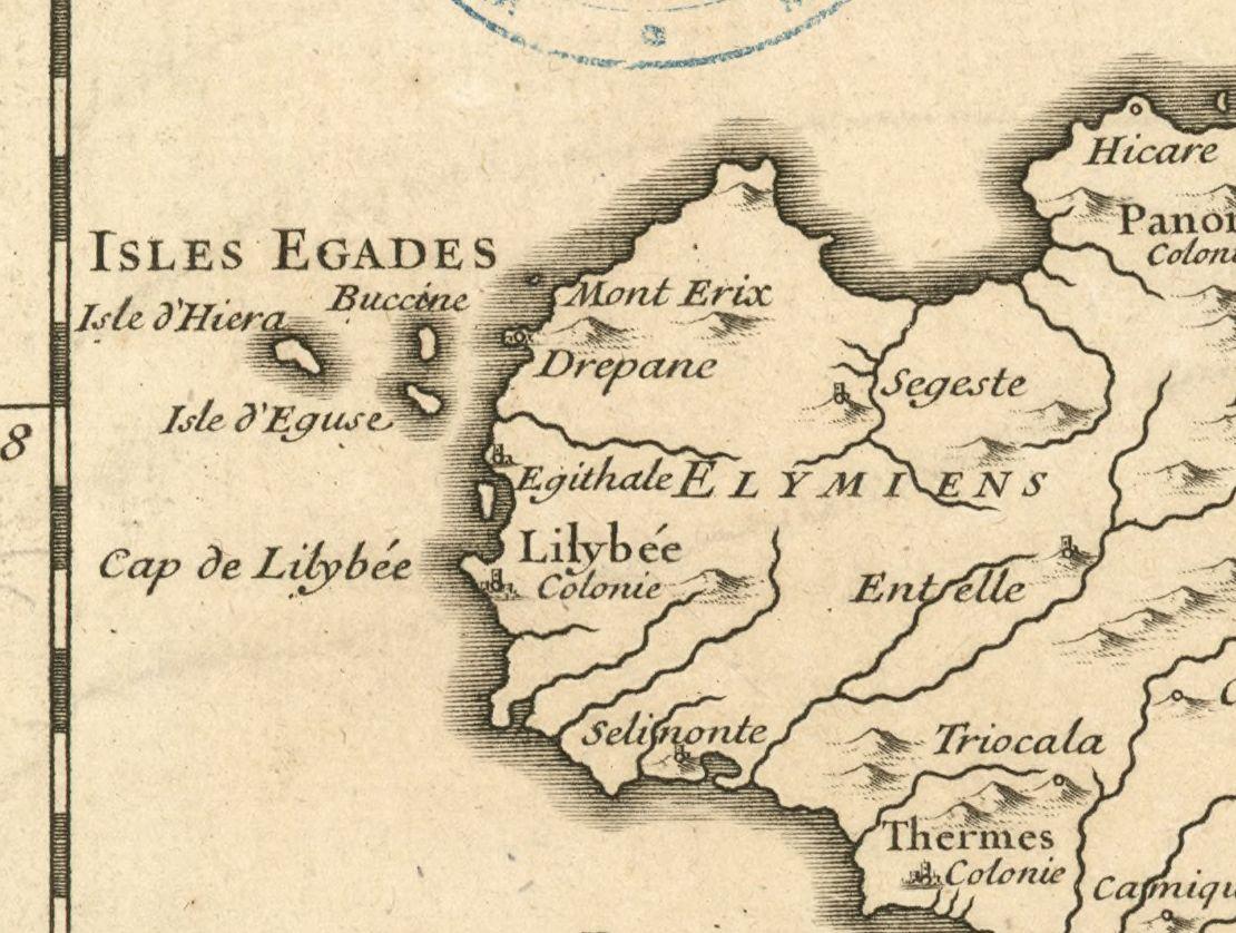 foto Carte de l'ancienne Sicile nommée autrement Sicanie et Trinacrie pour servir à l'intelligence de l'histoire romaine