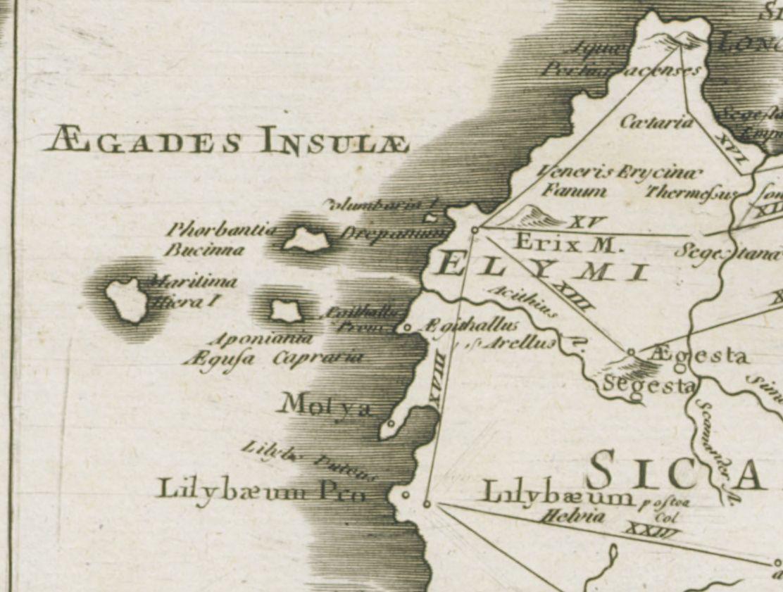 foto Tabula Geographica Siciliae veteris quae Sicania Trinacria eademque Solis Insula et Cyclopum Terra...