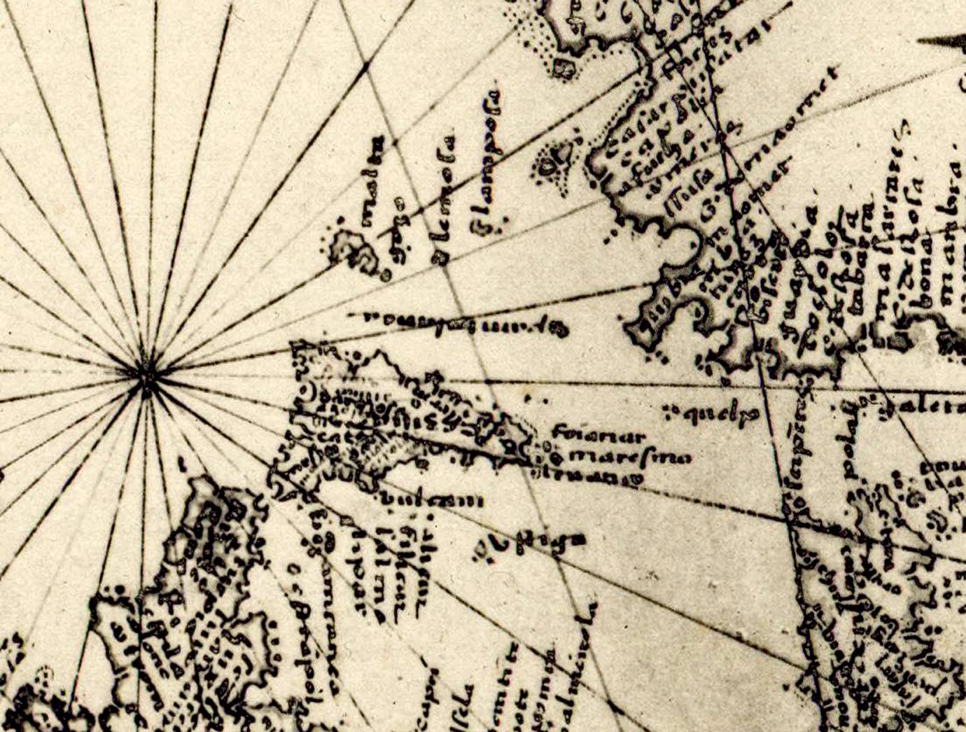 foto Fragment d'un portulan portugais inédit, vers 1535