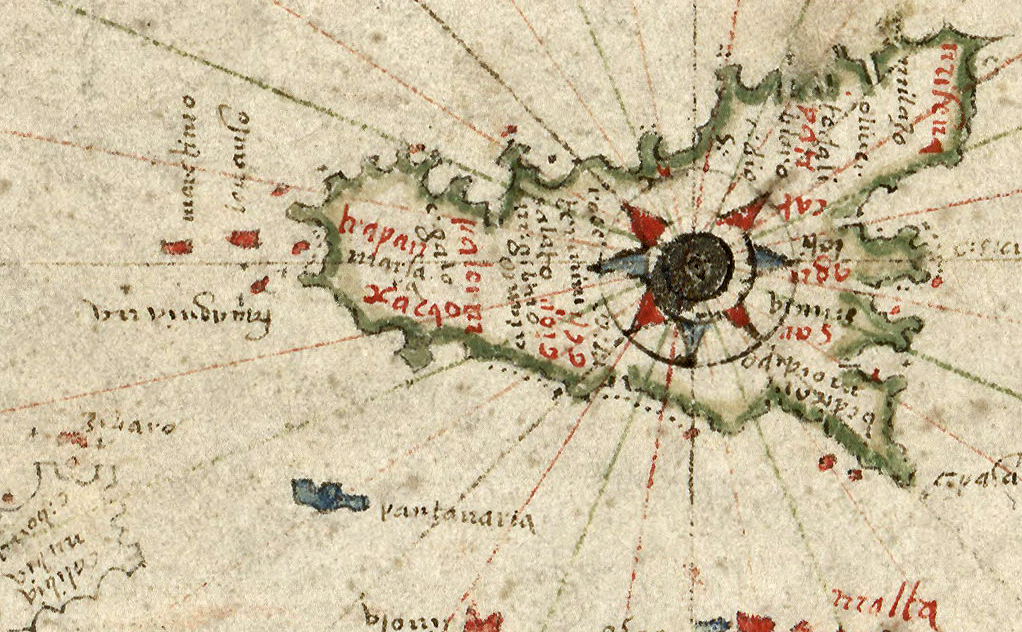 foto Portolan chart of the Mediterranean and Black Seas with the west coast of Spain and Portugal